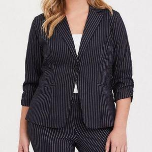 Torrid Navy Blue Pinstripe Blazer, Size 1
